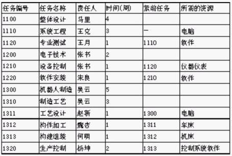 项目行动计划表