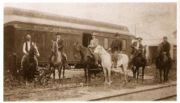 When Butch Cassidy and his Wild Bunch gang held up a Union Pacific train, this posse was organized to give chase. L to R: Standing, Unidentified; On horse, George Hiatt, T. Kelliher, Joe Lefors, H. Davis, S. Funk, Thomas Jefferson Carr.