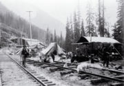 CPR Chinese workgang on tracks near Summit BC 1889