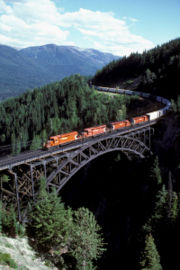 An eastbound CPR freight at Stoney Creek Bridge in Rogers Pass. Photo by David R. Spencer.