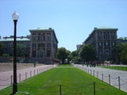 """College Walk"" provides a public path between Broadway and Amsterdam Avenue, cutting through the main campus quad."